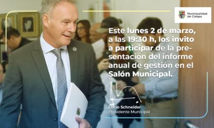 DARÍO SCHNEIDER PRESENTARÁ EL INFORME ANUAL DE GESTIÓN EN LA APERTURA DEL PERÍODO LEGISLATIVO