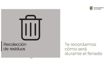 EL VIERNES 1º DE MAYO NO HABRÁ RECOLECCIÓN DE RESIDUOS DOMICILIARIOS