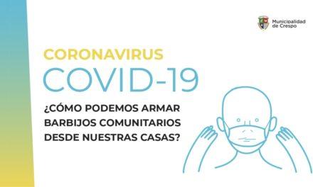 CORONAVIRUS: SE REGLAMENTÓ EL USO DEL BARBIJO COMUNITARIO O TAPA BOCA  EN LA CIUDAD DE CRESPO