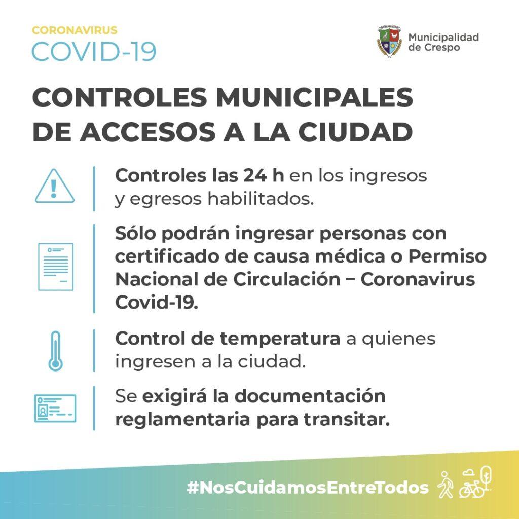 Será desde las 12:00 de este lunes 6 de julio. Ahora los accesos habilitados son: Presidente Raúl Ricardo Alfonsín, Illia y tramo vial que une Crespo-Racedo.