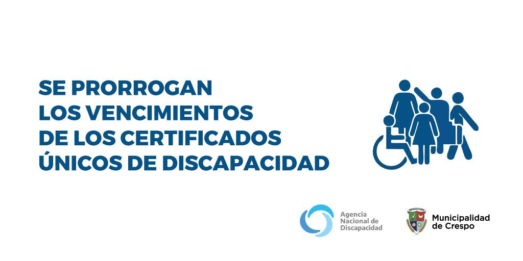 SE PRORROGAN LOS VENCIMIENTOS DE CERTIFICADOS DE DISCAPACIDAD