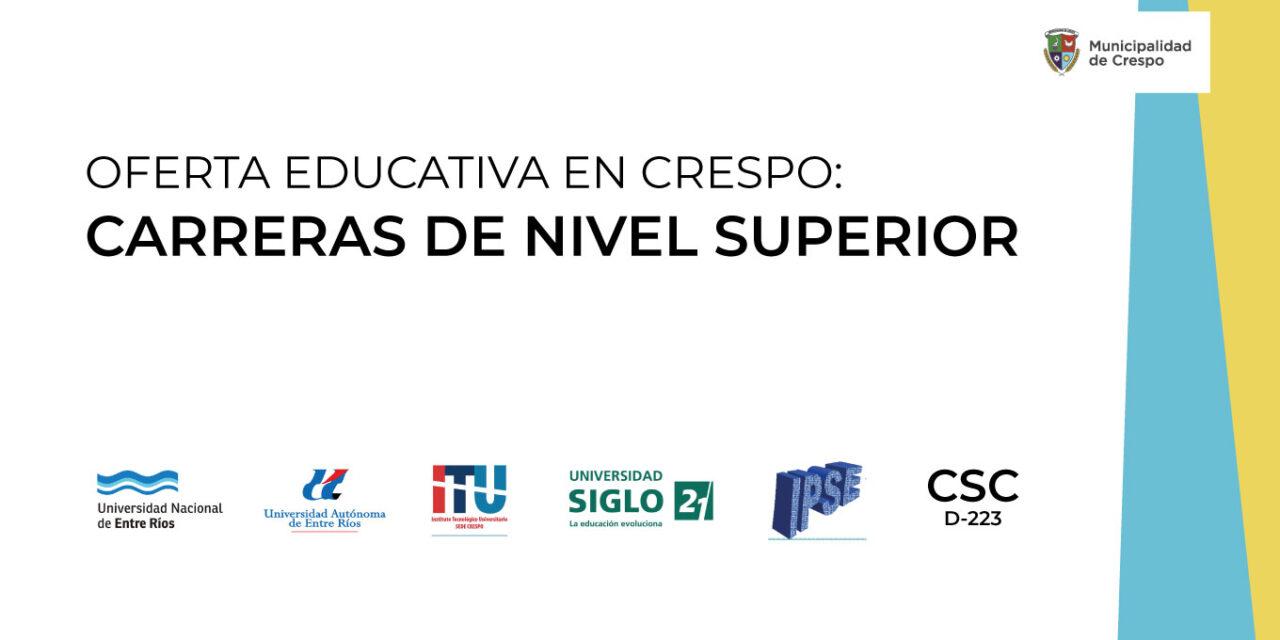 OFERTA EDUCATIVA EN CRESPO: CARRERAS DE NIVEL SUPERIOR