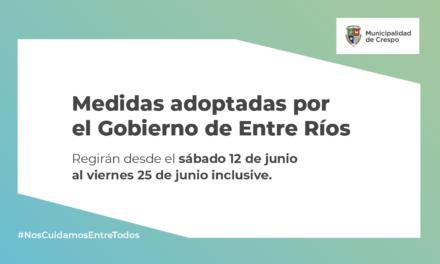 CORONAVIRUS: EL GOBIERNO DE ENTRE RÍOS DISPUSO LA CONTINUIDAD DE LAS SIGUIENTES MEDIDAS FOCALIZADAS DE CUIDADO