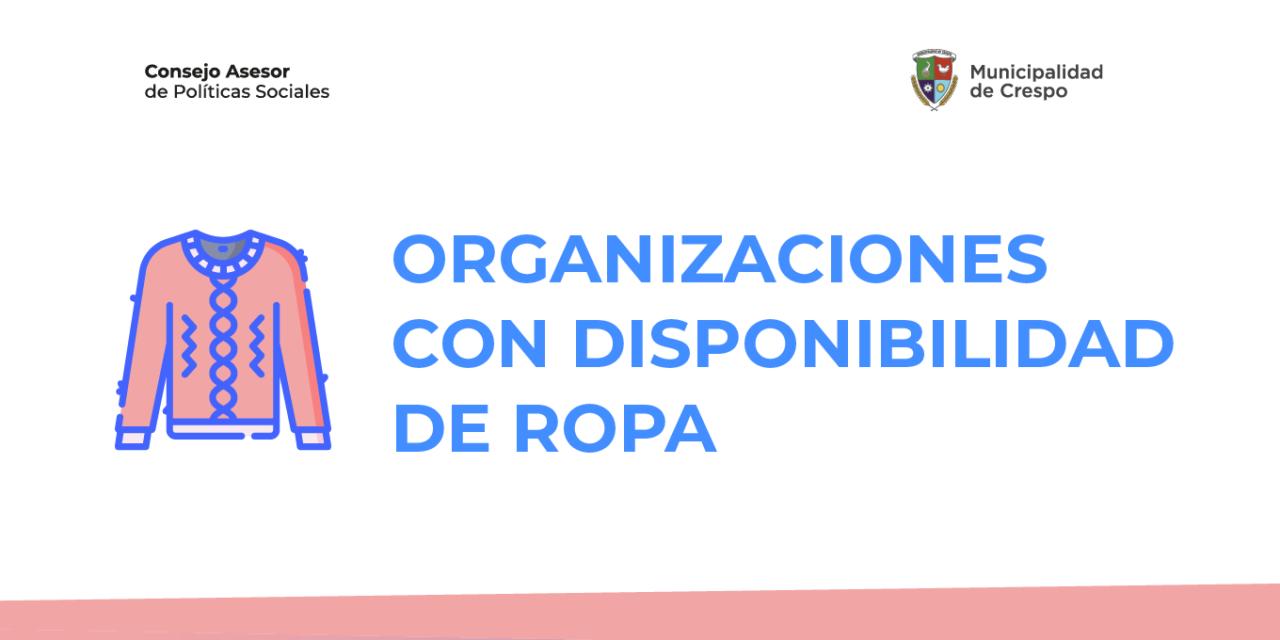 CONSEJO MUNICIPAL DE POLÍTICAS SOCIALES: ORGANIZACIONES CON DISPONIBILIDAD DE ROPA Y FRAZADAS
